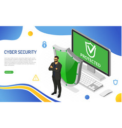 cyber security isometric concept vector image
