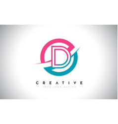 d letter design logo icon with circle and swoosh vector image
