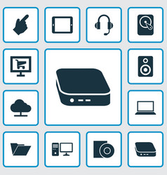 Digital icons set with palmtop nettop hdd and vector