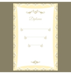 Diploma template or certificate frame border vector image