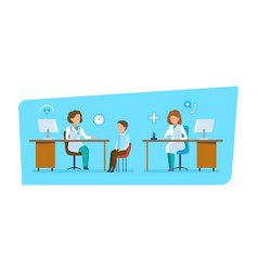 Doctor communicates with patient work in office vector