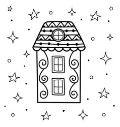 doodle magic house at night coloring page sweet vector image