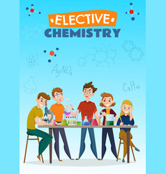 Elective chemistry cartoon poster vector