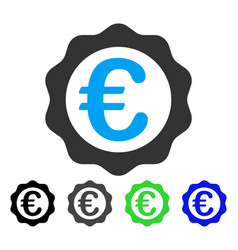 Euro award seal flat icon vector