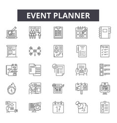 Event planner line icons for web and mobile design vector
