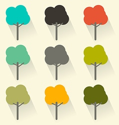 Flat Design Trees Set vector image