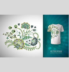 Floral print for t shirt pattern on t vector
