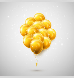 flying bunch golden balloon with shadow shine vector image