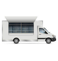 Food truck side view on white vector