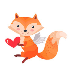 Fox with angel wings holds heart in paws isolated vector