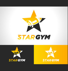 Gold star gym fitness logo icon vector