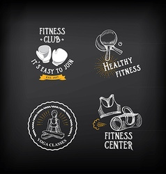 Gym and fitness club logo design sport badge vector image