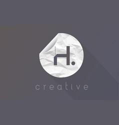 H letter logo with crumpled and torn wrapping vector