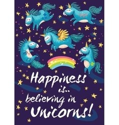 Happy card with cute unicorns cartoon vector