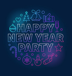 happy new year party round bright concept vector image