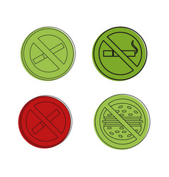 healthy life sign icon set color outline style vector image