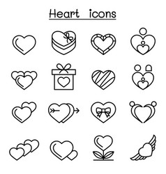 Heart icon set in thin line style vector