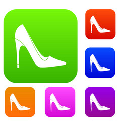 high heel shoe set color collection vector image