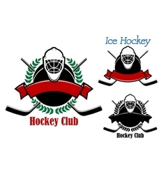 Ice hockey club emblems with sport items vector image