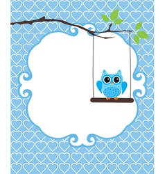 Invitation card owl blue vector