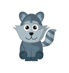 isolated cute raccoon on white background vector image