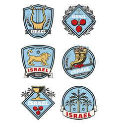 Israel travel icons and culture symbols vector