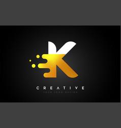 K melted golden letter logo design creative vector