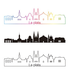 la plata skyline linear style with rainbow vector image