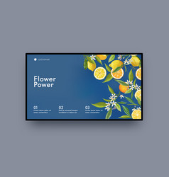 landing page design with lemon fruits and flowers vector image