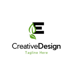 Letter e leaf naturally creative logo vector
