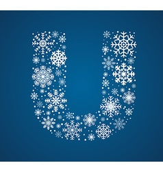 Letter U font frosty snowflakes vector