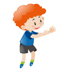 Little boy with red curly hair vector
