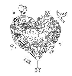 love doodle line art vector image
