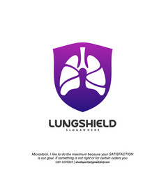 lungs shield logo health lungs logo template vector image