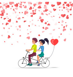 man and woman riding on bike with red balloon vector image