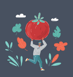 man run with big tomato in his hands vector image