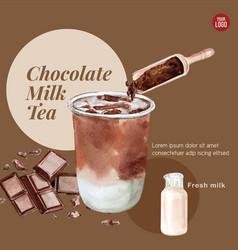 Matcha bubble milk tea ad content vintage vector