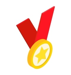 Medal with star on a red ribbon isometric 3d icon vector image