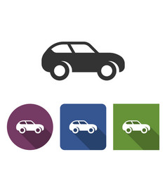 Monochromatic car icon in different variants with vector
