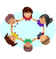 Multi-ethnic kids holding hands vector