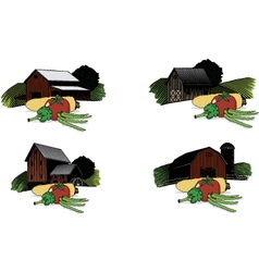 Old barn scenes with vegetables vector