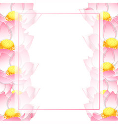Pink indian lotus banner card border vector
