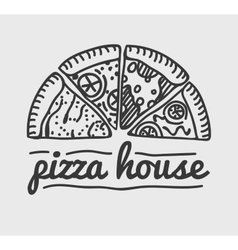 Pizza label design typographic pizza festival or vector