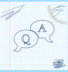 question and answer mark in speech bubble line vector image