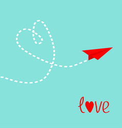 red origami paper plane dash heart in the sky vector image