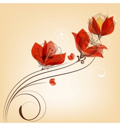 Romantic red flowers decoration in retro style vector