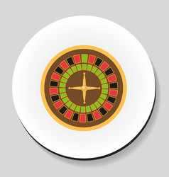 roulette is a casino game sticker icon flat style vector image