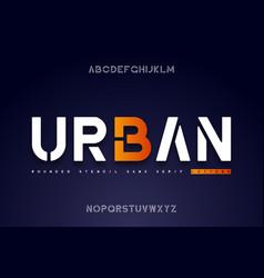 rounded stencil sans serif font stencil alphabet vector image