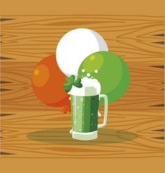 Saint patrick beer jar with balloons helium vector