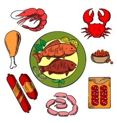 Seafood chicken and meat food vector